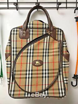 Burberry Tennis Racket Holder Travel Backpack Tote Bag Made in England