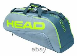 Head Tour Team Extreme Combi 6 Pack Racquet Bag (YellowithGrey) Tennis Squash