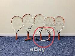 Lot of 6 FISCHER PRO 21 & 23 tennis rackets, 3 6/8,3 7/8 with bag READ