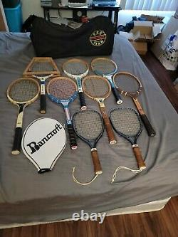 Lot of 7 Vintage Wood Tennis Rackets imperial Chris Evert Charger + Head bag