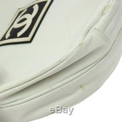 ULTRA RARE! Authentic CHANEL CC Logos Tennis Racket and Carry Bag White V14728