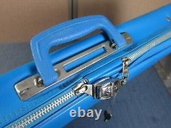 Vintage 70s Adidas Tennis Racket Blue Carrying Suitcase Bag Free Shipping