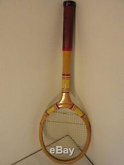 Vintage Hunrich Hammer Wooden Tennis Racket Rack and Bag