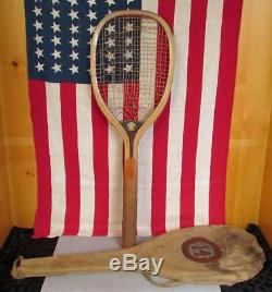 Vintage Spalding Antique Wood Gold Medal Tennis Racquet with Tote Bag early 1900s