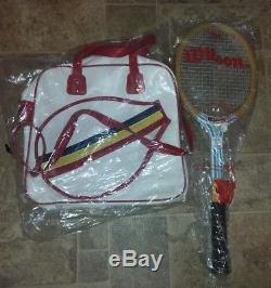 Vintage Wilson Chris evert champ wooden racquet & vintage leather tennis bag NEW