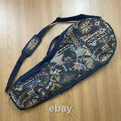 Vintage Wilson Tennis Racquet Bag Native Woven Tapestry Pockets Fits 3 Rackets