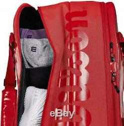 Wilson Super Tour 2 Compartment Small Tennis Equipment Bag Holds 6 Rackets (Red)