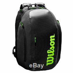 Wilson Super Tour Racquet Backpack (Black/Green) Authorized Dealer with Warrantty