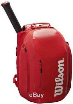 Wilson Super Tour Tennis Backpack Bag Holds 2 Racquets Rackets Shoe Pocket (Red)