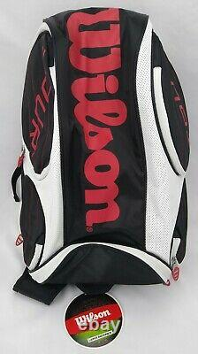 Wilson Tour LG Tennis Backpack WRZ842396 Black White Red ThermoGuard 2 Rackets