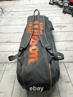 Wilson Tour V 15 Pack Tennis Racquet Bag Backpack Grey/Orange With Thermoguard