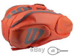 Wilson Vancouver Tennis Bag Racquet Backpack 15 Pack Orange NWT WRZ-849715